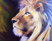 Lion Of Judah Paintings - Protector by Carrie Bennett