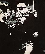 Civil Rights Paintings - Protestor yells to the photographer during an arrest 1968 by Lauren Luna