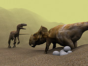 Defending Metal Prints - Protoceratops Dinosaur Defending Eggs Metal Print by Christian Darkin
