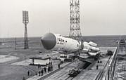 Proton Rocket & Granat Observatory On Launch Pad Print by Ria Novosti