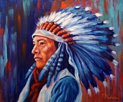 Colorful Native American Framed Prints - Proud One Framed Print by Theresa Paden