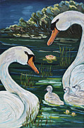 Waterfowl Paintings - Proud Parents by Nanci Thomas