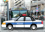 Police Cruiser Painting Posters - Proud Police Car in the City  Poster by Elaine Plesser