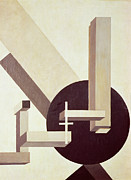 Grey Framed Prints - Proun 10 Framed Print by El Lissitzky