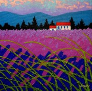 Purple Decorative Art Art - Provence Landscape by John  Nolan