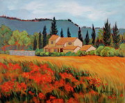 Villa Paintings - Provence Villa by Dawn Thrasher
