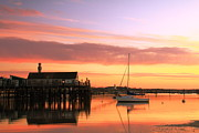 Sailboat Framed Prints - Provincetown Harbor before sunrise Framed Print by Roupen  Baker