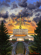 Blue  Yellow Paintings - Provo Temple Evening by Jeff Brimley