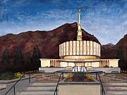 Church Posters - Provo Temple Poster by Jeff Brimley
