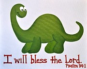Christian Artwork Paintings - Psalm 34 Dinosaur by Ashlee Tolleson