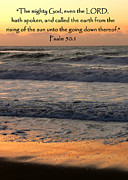 Psalm 50 Posters - Psalm 50 Sunset Seascape Poster by Cindy Wright
