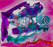 Psycadelic Flowers Print by Marsha Heiken