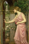 Pink Floral Paintings - Psyche entering Cupids Garden by John William Waterhouse