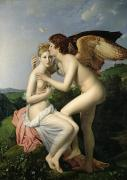 Kissing Posters - Psyche Receiving the First Kiss of Cupid Poster by Gerard