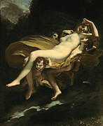 Psyche Metal Prints - Psyche Transported to Heaven Metal Print by Pierre-Paul Prud hon