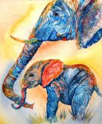 Baby Animals Prints - Psychedelephants Print by Donna Martin