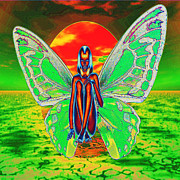 Fantasy Digital Art Prints - Psychedelic Butterfly Woman Print by Matthew Lacey