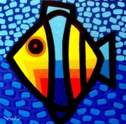 Poetry Paintings - Psychedelic Fish by John  Nolan