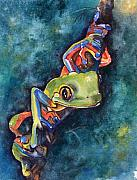 Amphibians Originals - Psychedelic frog by Gina Hall