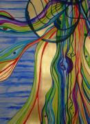 Psychedelic Jellyfish Print by Erika Swartzkopf