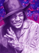 Colored Pencil Metal Prints - Psychedelic Jimi Metal Print by Kathleen Kelly Thompson