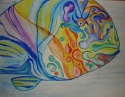 Parrotfish Paintings - Psychedelic Parrotfish by Erika Swartzkopf