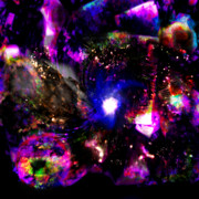 Constellations Digital Art - Psychedelic Rainbow Nebula Galaxy Universe by Abram Lopez