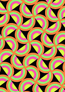 Designer Colour Prints - Psychedelic Squares Print by Louisa Knight