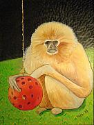 Zoo Paintings - Psychic Monkey by Scott Plaster