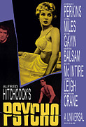 Horror Fantasy Movies Posters - Psycho, Anthony Perkins, Janet Leigh Poster by Everett