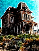 Haunted House Drawings Metal Prints - Psycho House Metal Print by Paul Van Scott