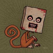 Crazy Digital Art Prints - Psycho Sack Monkey Print by John Schwegel