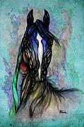 Wild Horse Drawings - Psychodelic Blue And Green by Angel  Tarantella