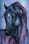 Wild Horse Drawings - Psychodelic Deep Blue by Angel  Tarantella