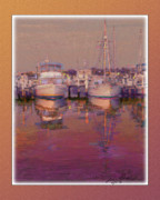 Boats At Dock Digital Art Prints - Psychogenic harbor3 Print by John Breen