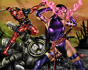 Men Drawings Framed Prints - Psylocke and Deadpool Framed Print by Pete Tapang
