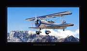 Airplane Art Digital Art Prints - PT-17 Stearman Print by Larry McManus