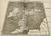 1513 Prints - Ptolemys Map Of Britain, 16th Century Print by Library Of Congress