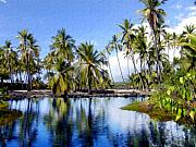 Hawaiian Pond Prints - Pu uhonua O Honaunau pond Print by Kurt Van Wagner