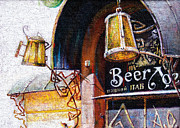 Beer Oil Paintings - Pub and Beer by Alexander Ochkal
