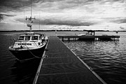 Neagh Prints - Public Jetty And Island Warrior Ferry On Rams Island In Lough Neagh Northern Ireland  Print by Joe Fox