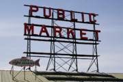 Farmers Market Framed Prints - Public Market Sign Framed Print by David Patterson