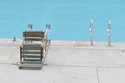 Water Swimming Pool Posters - Public Pool With Rusty And Worn Lifeguard Chair Poster by Jaan Bernberg