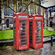 Flagstones Prints - Public Telephone boxes Print by Martin  Fry