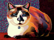 Cat Art Mixed Media Metal Prints - Puddin Metal Print by Bob Coonts