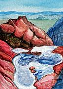 Red Rock Canyon Paintings - Puddles by Bonnie Kelso