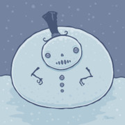 Fat Metal Prints - Pudgy Snowman Metal Print by John Schwegel
