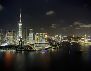 Bund Shanghai Photos - Pudong District At Night by Andrew Rowat