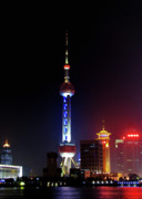 Night Scene Posters - Pudong New District Shanghai - Bigger Higher Faster Poster by Christine Till