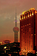 Night Scene Framed Prints - Pudong Shanghai - First City of the 21st Century Framed Print by Christine Till